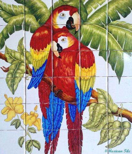 kitchen tile mural Couple Macaws