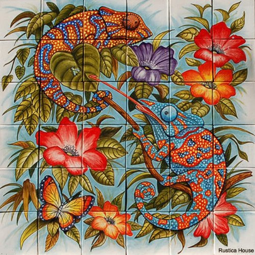 mexican kitchen wall tile mural Chameleons