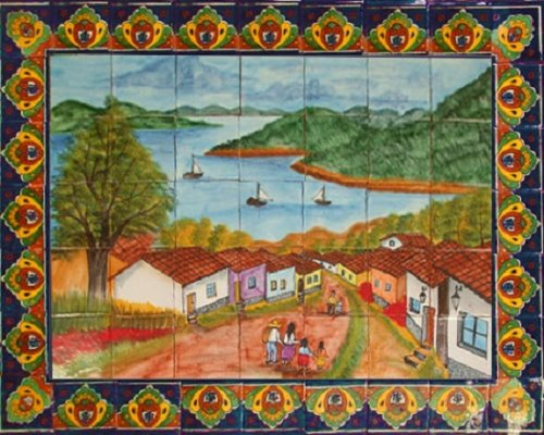 ceramic tile mural Sailboats on Lake