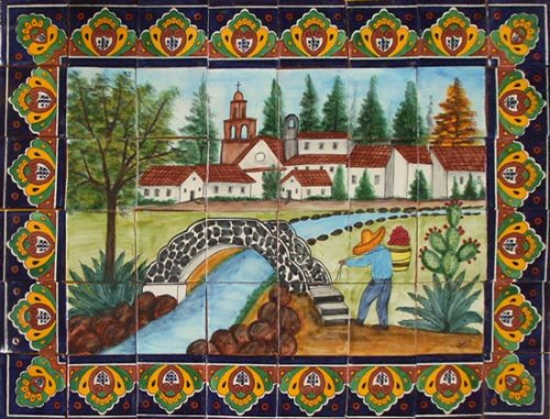ceramic tile hand made mural Arch Bridge