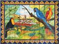 ceramic tile mural Toucan and Parrots