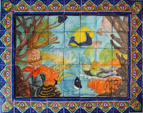 ceramic tile mural Coral Reef