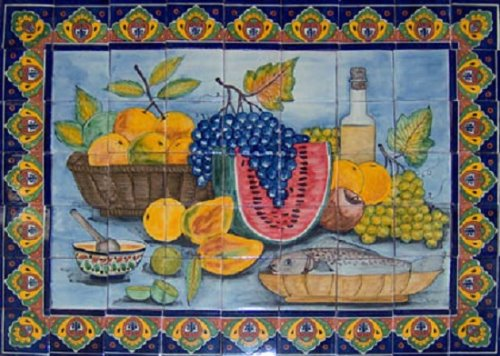 ceramic tile mural Fruits and Wine Bottle