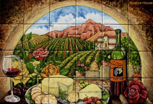 Mexican Hand Painted Tile Mural with Cheese, Wine and Roses