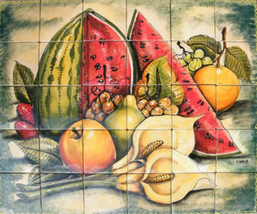 kitchen tile mural Watermelon and Calla Lilies