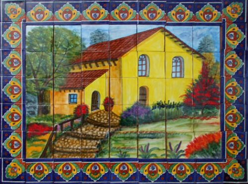 ceramic tile mural Yellow Country House