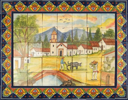 ceramic tile mural Life in the Countryside