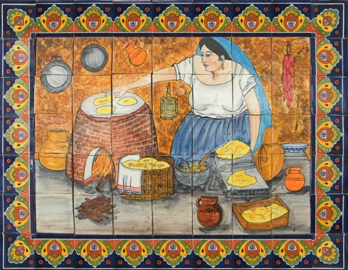 ceramic tile mural Cooking