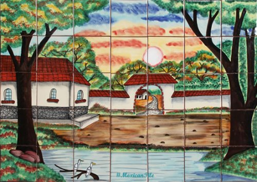 kitchen tile mural Beautiful Lake