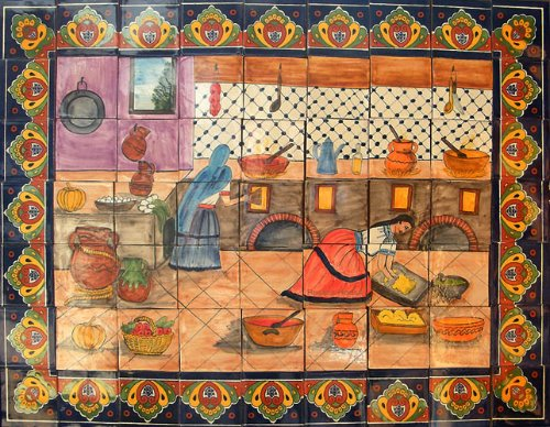 ceramic tile mural Traditional Mexican Cooks