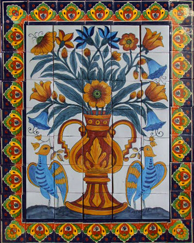 mexican rustic ceramic tile mural Birds and Flowers