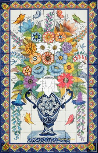 Mexican ceramic kitchen tile mural with butterflies and flowers
