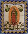 ceramic tile mural Virgin of Guadalupe with Calla Lilies