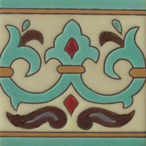 handcrafted relief tiles Pastel Green Fleur of Lis