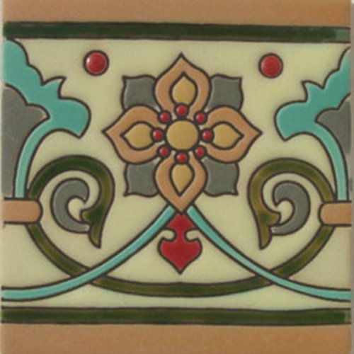 handcrafted relief tiles Cineraria Flower