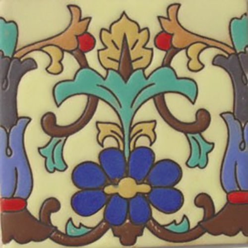 handcrafted relief tiles Ornamental Flower
