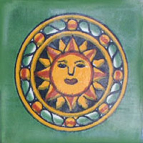 mexican tile green aztec sun