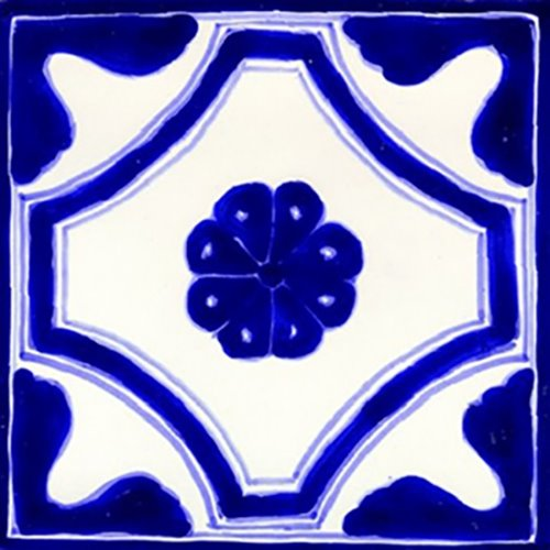 hand painted talavera tile Cobalt Flower
