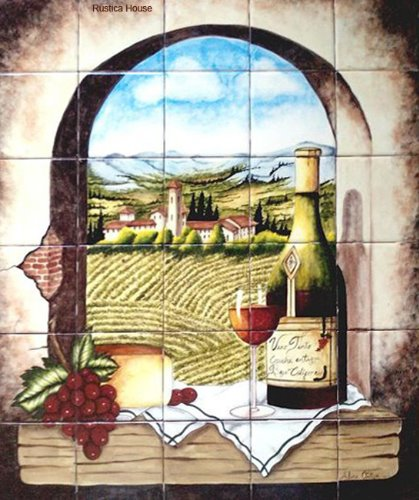 kitchen wall tile mural Archway to the Vineyard