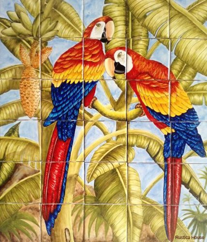 mexican kitchen tile mural Birds on Trees