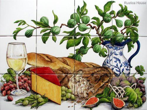 kitchen tile mural Bread and Wine