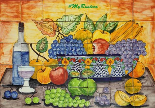 kitchen tile mural Grapes and Apples