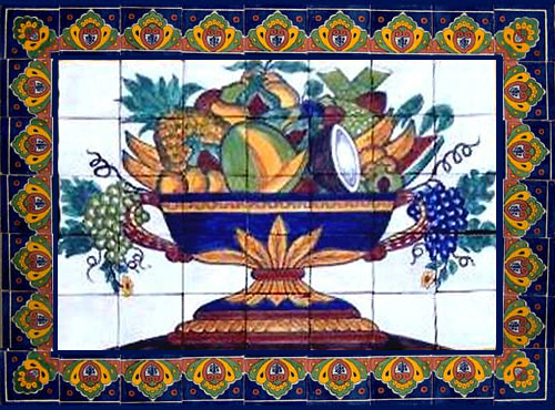 ceramic tile mural Colorful Fruit Bowl
