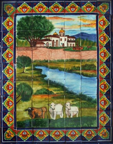 mexican kitchen tile mural cattle