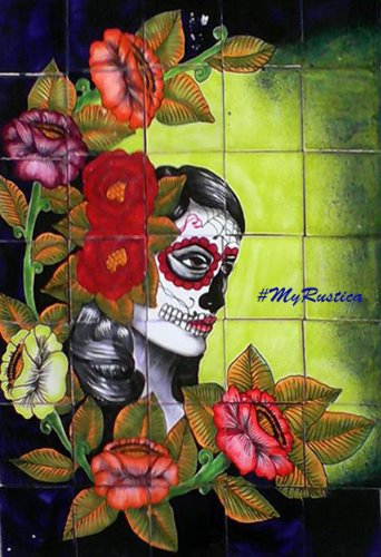 "Mexican Kitchen Tile Mural ""Catrina Folk Art"""