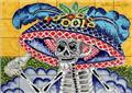 mexican kitchen tile mural with Catrina