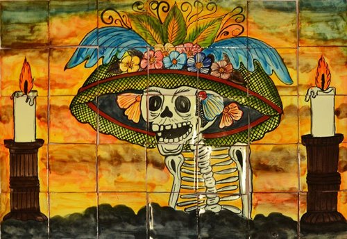 kitchen tile mural Catrina 3