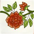 artisan produced talavera tile Red Rose