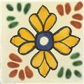 artisan produced talavera tile Yellow Flower
