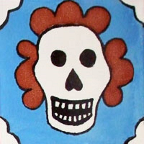 mexican blue day of the dead tile