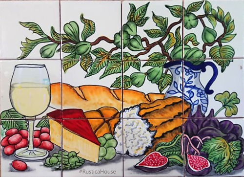 mexican handcrafted kitchen tile mural with bread and wine