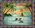 kitchen tile mural palm trees
