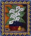 ceramic tile mural calla lilies and pear