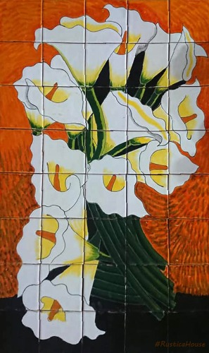 mexican kitchen tile mural Bouquet of Calla Lilies