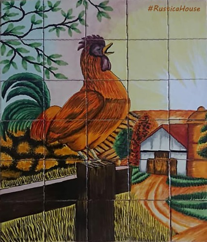 mexican kitchen tile mural cockcrow