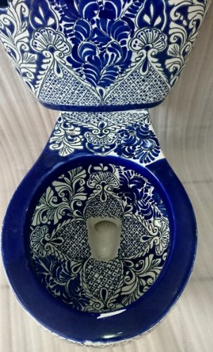blue white Mexican toilet sale