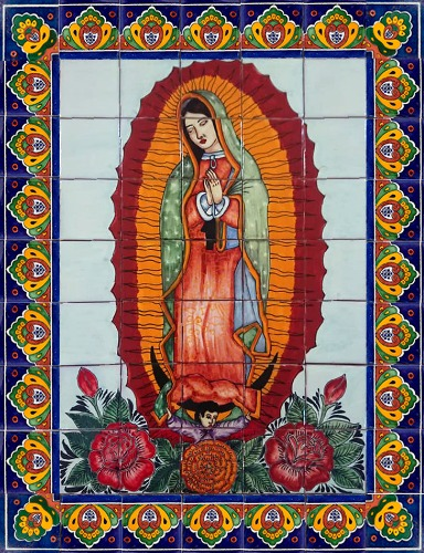 ceramic tile mural Our Lady Virgin of Guadalupe