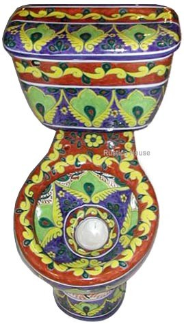 Hand Painted Toilet Mexican Tiles 169 Kitchen Bath Amp Stairs