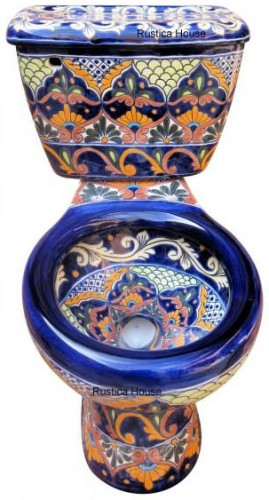 Talavera Toilet Mexican Tiles Kitchen Bath Stairs