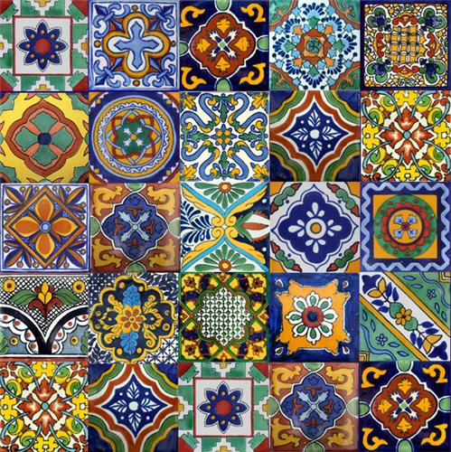 mexican tiles and talavera tile murals for kitchen backsplash, wall, stairs and bath