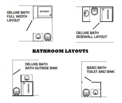 Deluxe Bath with Toilet, Sink, Shower and Hot Water Heater