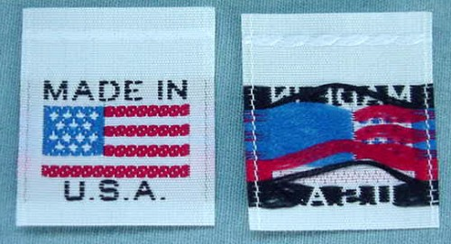 100 pcs WHITE AMERICAN FLAG - MADE IN U.S.A. - RED WHITE & BLUE CLOTHING LABELS