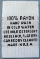 100 pcs WHITE WOVEN CLOTHING LABELS, CARE LABEL, 100% RAYON