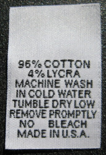 WHITE WOVEN CLOTHING LABELS, CARE LABEL, 96% COTTON, 4% LYCRA