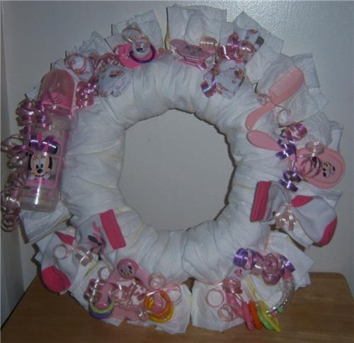 Baby Shower Minnie Mouse Diaper Wreath