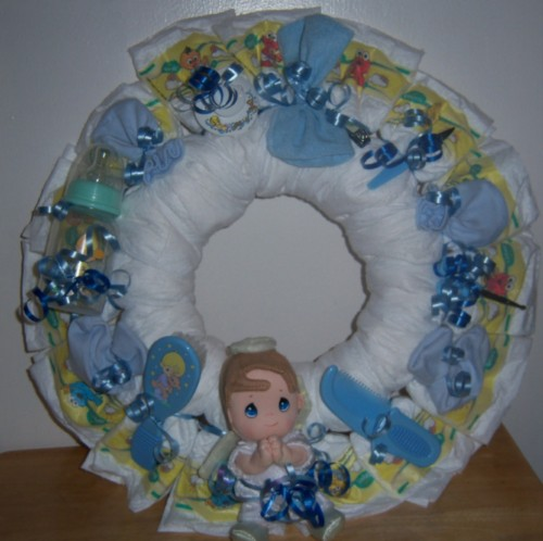 Amazing Baby Shower Precious Moments Diaper Wreath